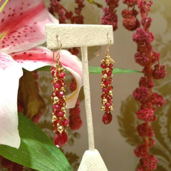Long Vine Earrings with Precious Stones