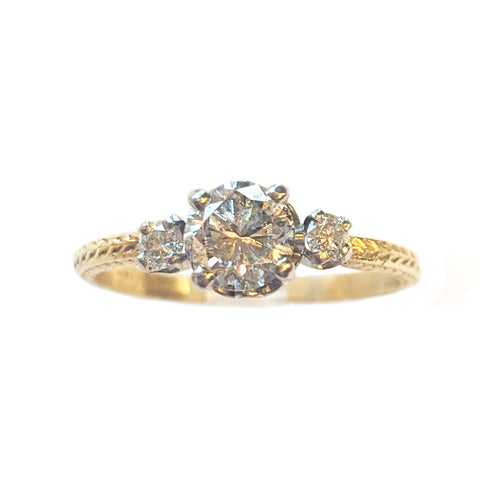Platinum and Gold Diamond Trio Wheat Ring