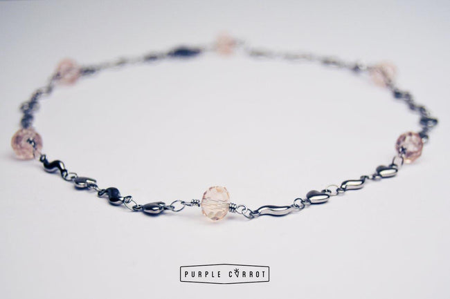 Silver Heart & Pink Crystal necklace