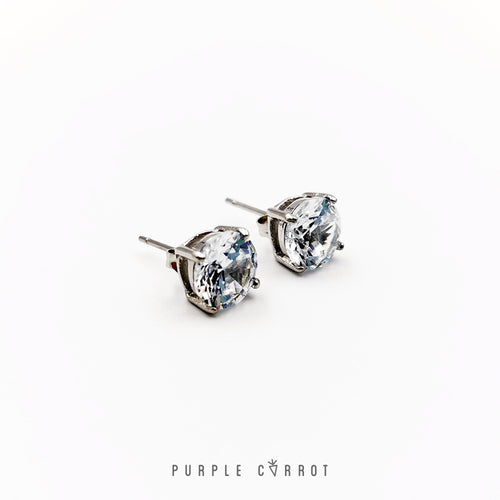 Clear Crystal Stud  earrings Rose gold or Silver