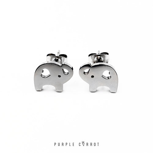 Elephant Stud Earrings (8mm high)