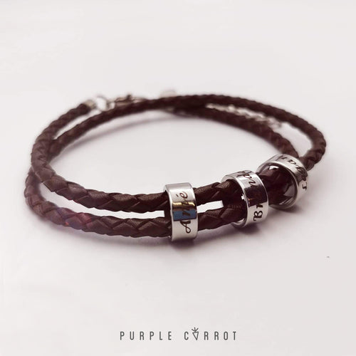 Round Leather Family Bracelet