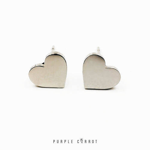 Heart Stud Earrings (8mm high)