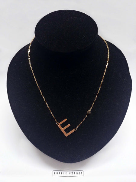 Tilted Initial Necklace and Bracelet  Set - Rose Gold