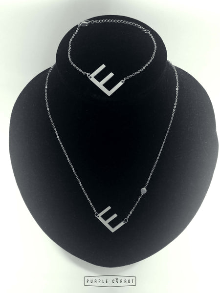 Tilted Initial Necklace and Bracelet set -silver