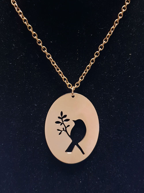 Songbird Disc Cutout Necklace