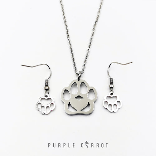 Paw Necklace and Earrings
