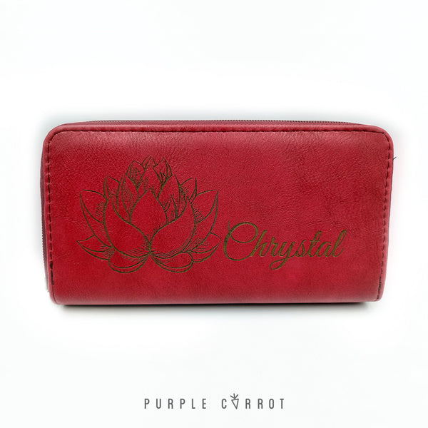 Mother's Day Red Female Wallet With Lotus