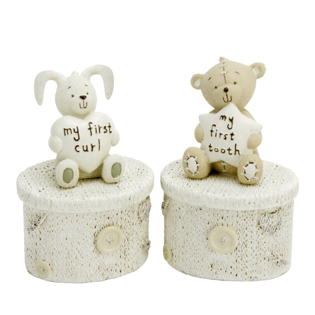 Button Corner Christening gift Pair Set Rabbit My First Curl & Teddy my First Tooth Trinket Boxes
