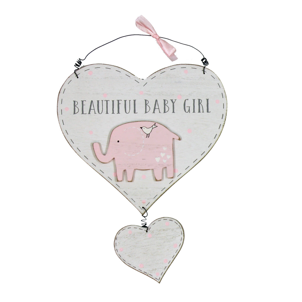 Petit Cheri Vintage Style Wooden Baby Girl Double Heart Wall Plaque