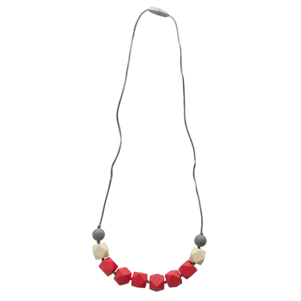 Itzy Ritzy Teething Happens Chewable Silicone Cube Bead Necklace Coral