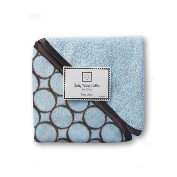 SwaddleDesigns Baby Washcloths Pastel Blue with Brown Mod Circles