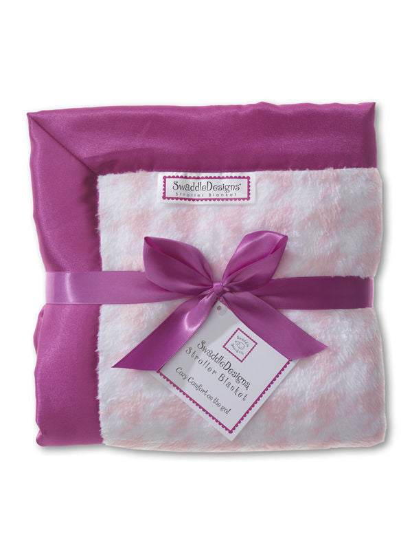 SwaddleDesigns Stroller Blanket Pink Puppytooth with Purple Lining