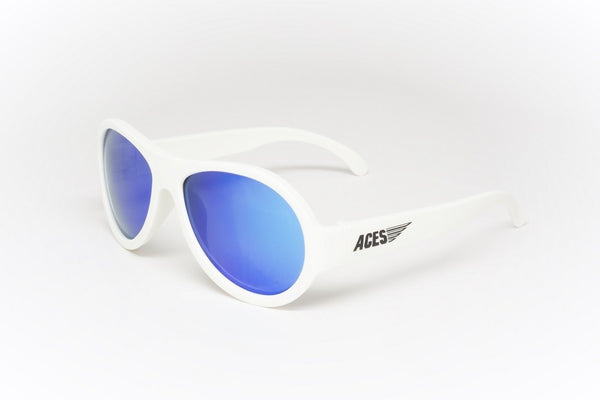 Babiators Aces Shades Wicked White with Blue lens for 7 - 14 years
