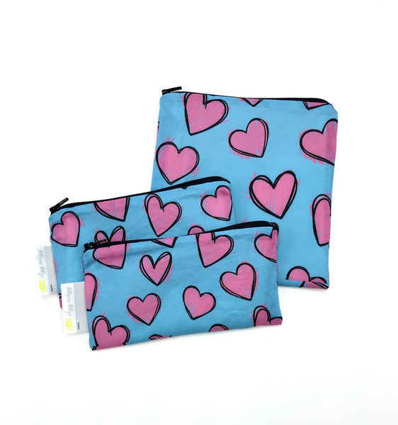 Itzy Ritzy Snack Happens Mini 2-pack Reusable Snack and Everything Bag Happy Hearts