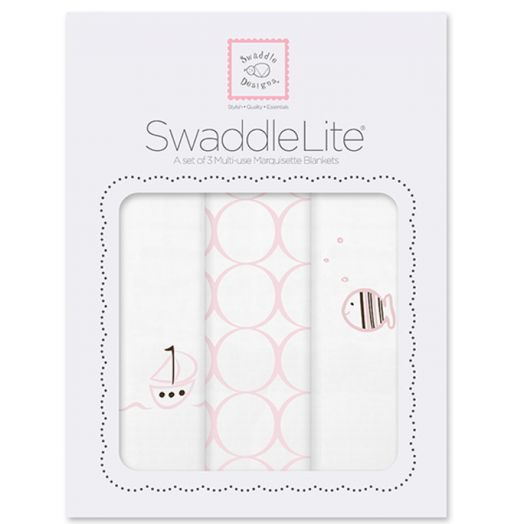 SwaddleDesigns SwaddleLite Boats & Fish in Pastel Pink