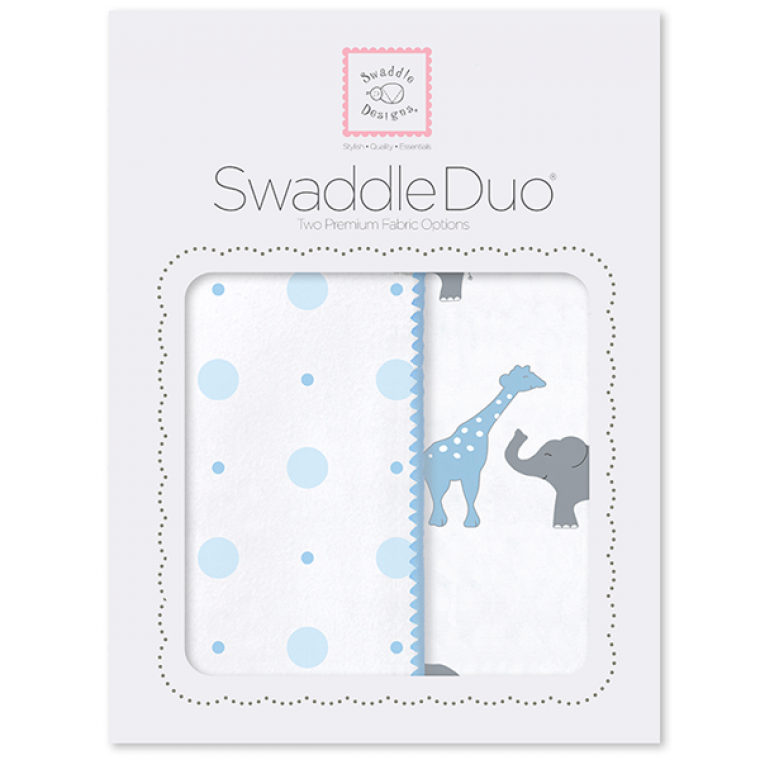 SwaddleDesigns Swaddle Duo Circus Fun Pastel Blue