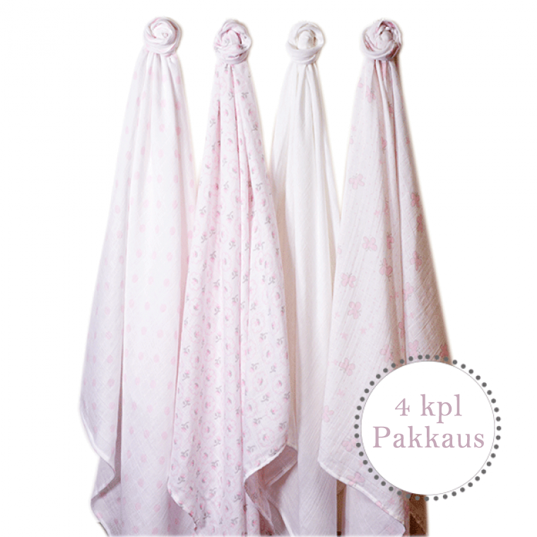 SwaddleDesigns Muslin Swaddle Blankets in Pastel Pink, Set of 4