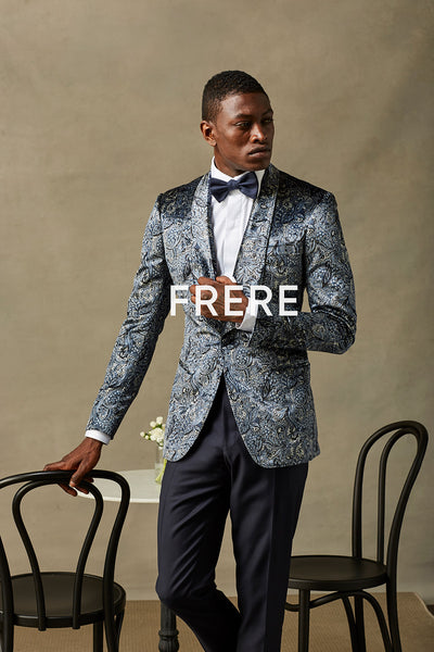 Navy Paisley Liquid Velvet Dinner Jacket