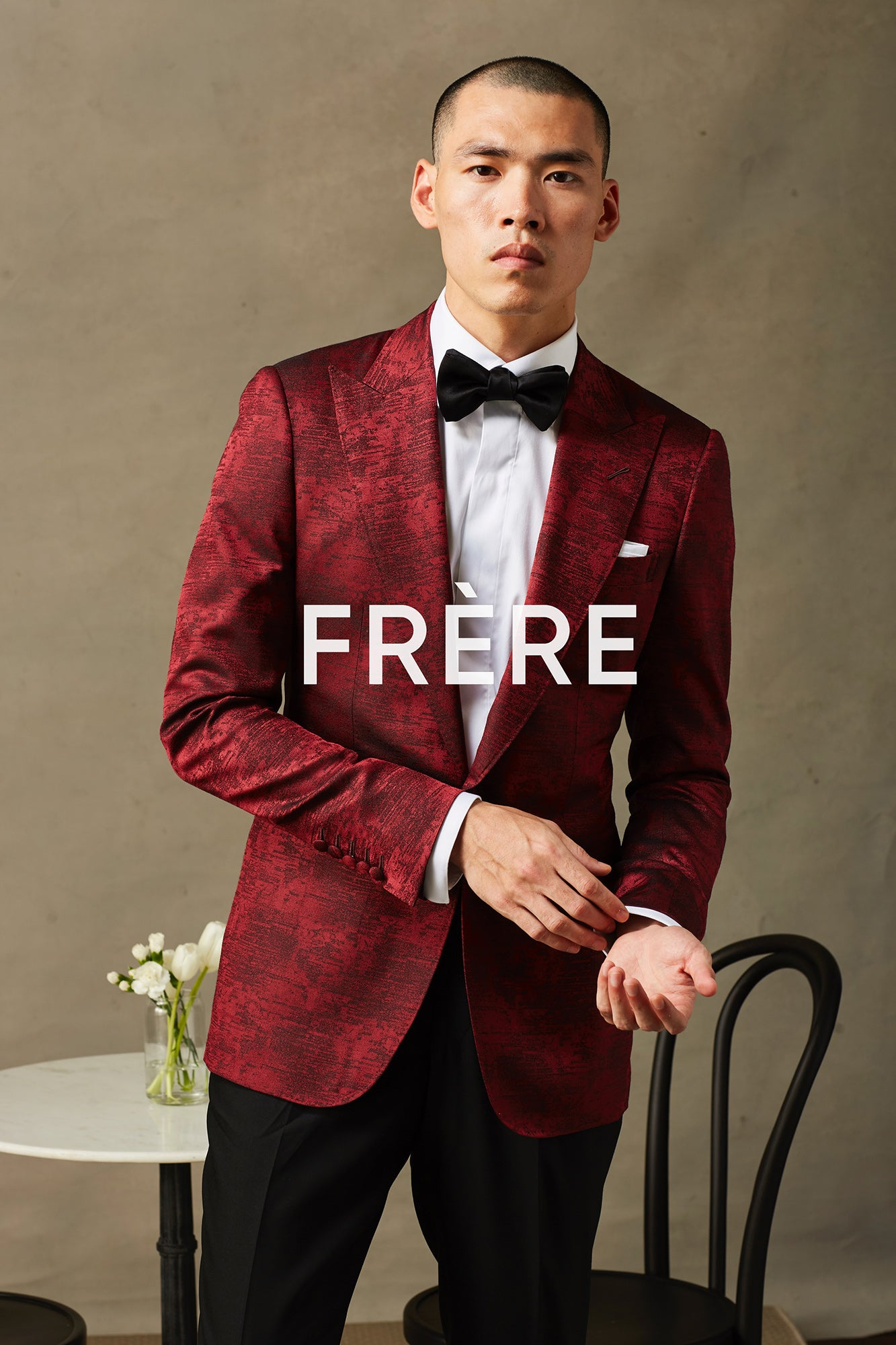 Red Silk Wool Dinner Jacket