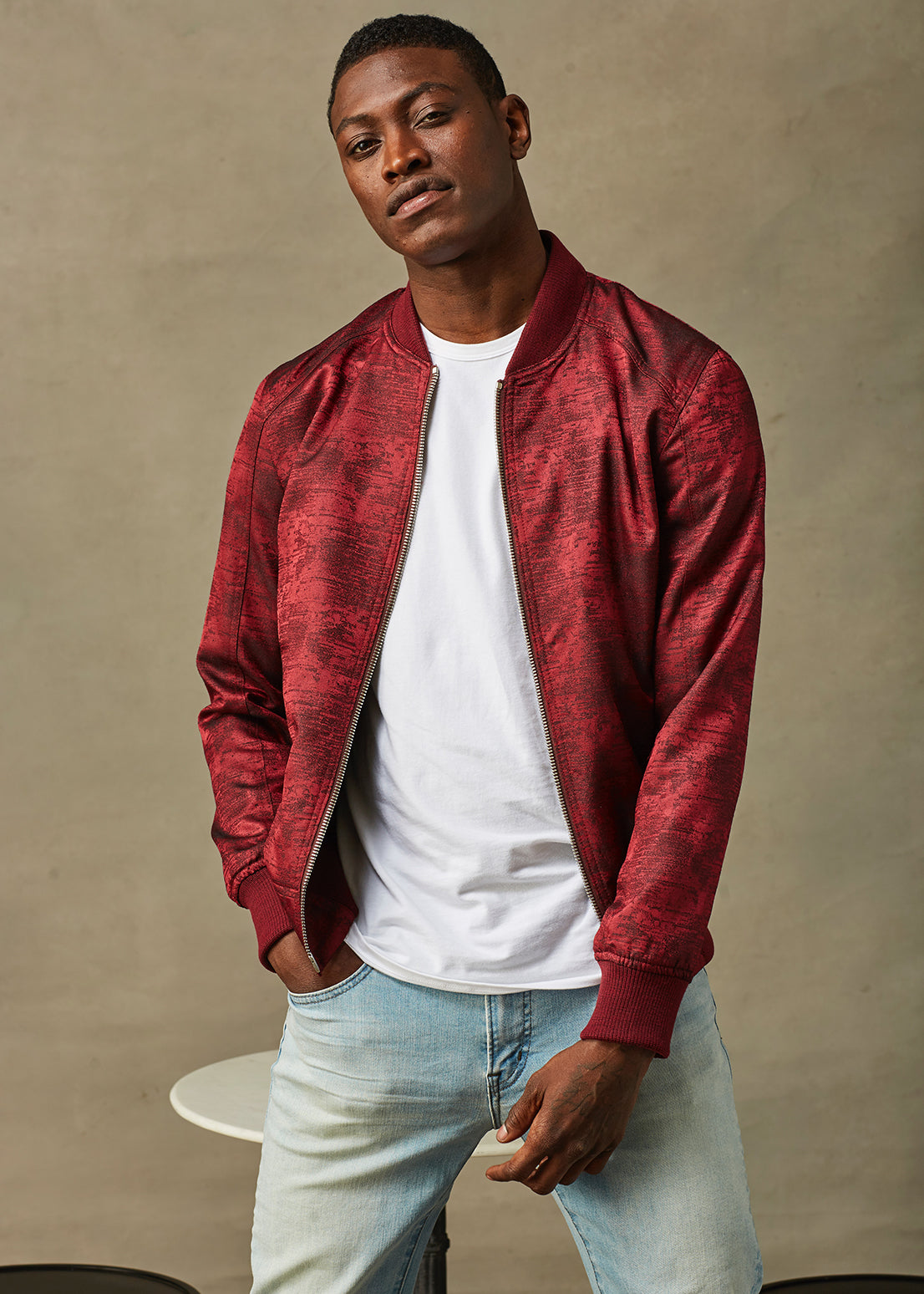 Red Silk Wool Bomber Jacket