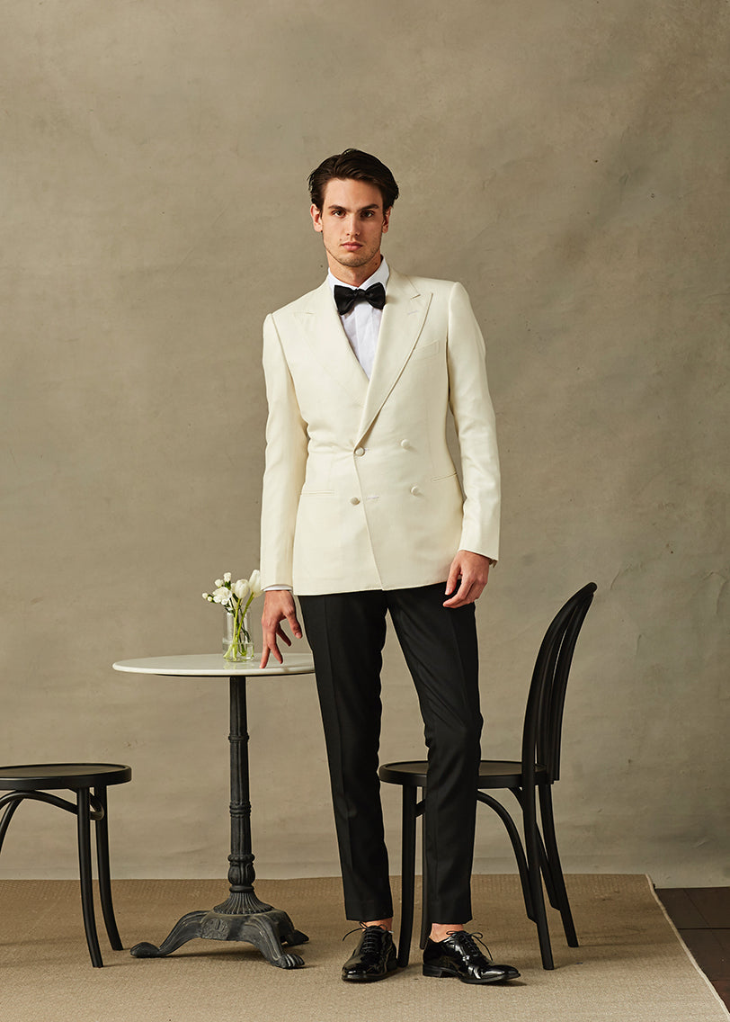 Cream Double Breasted Cashmere Dinner Jacket