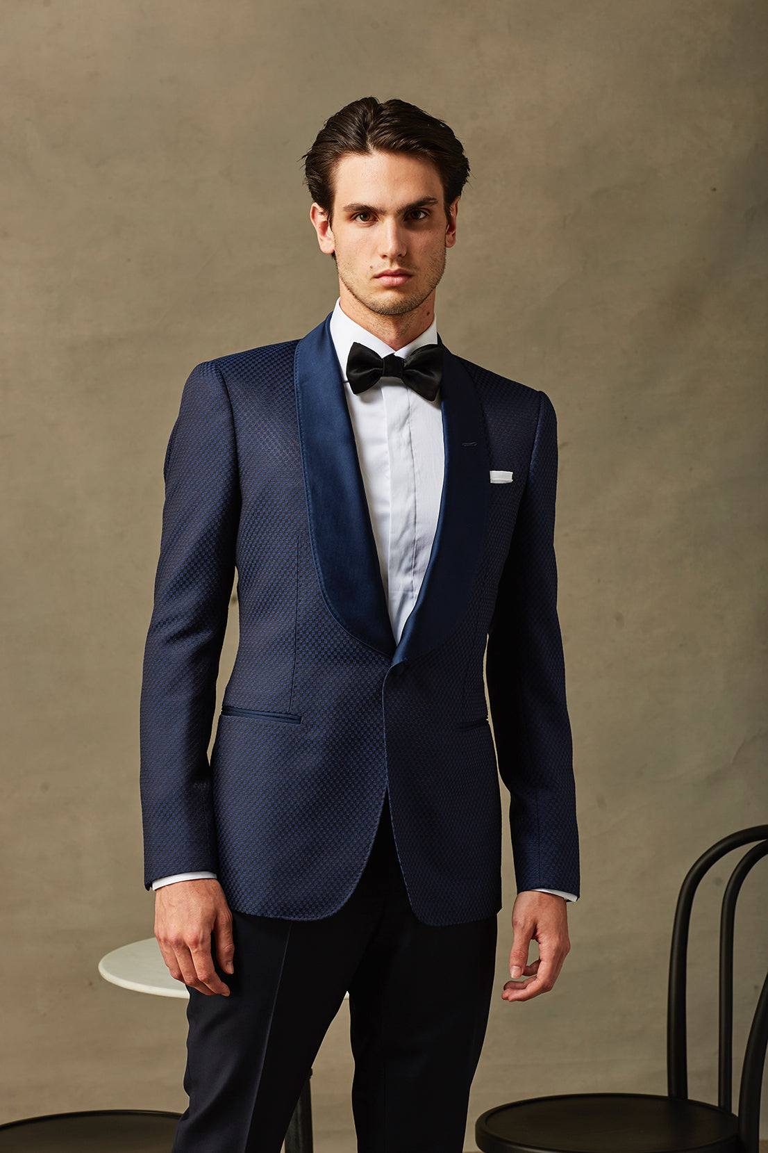 Navy Brocade Dinner Jacket