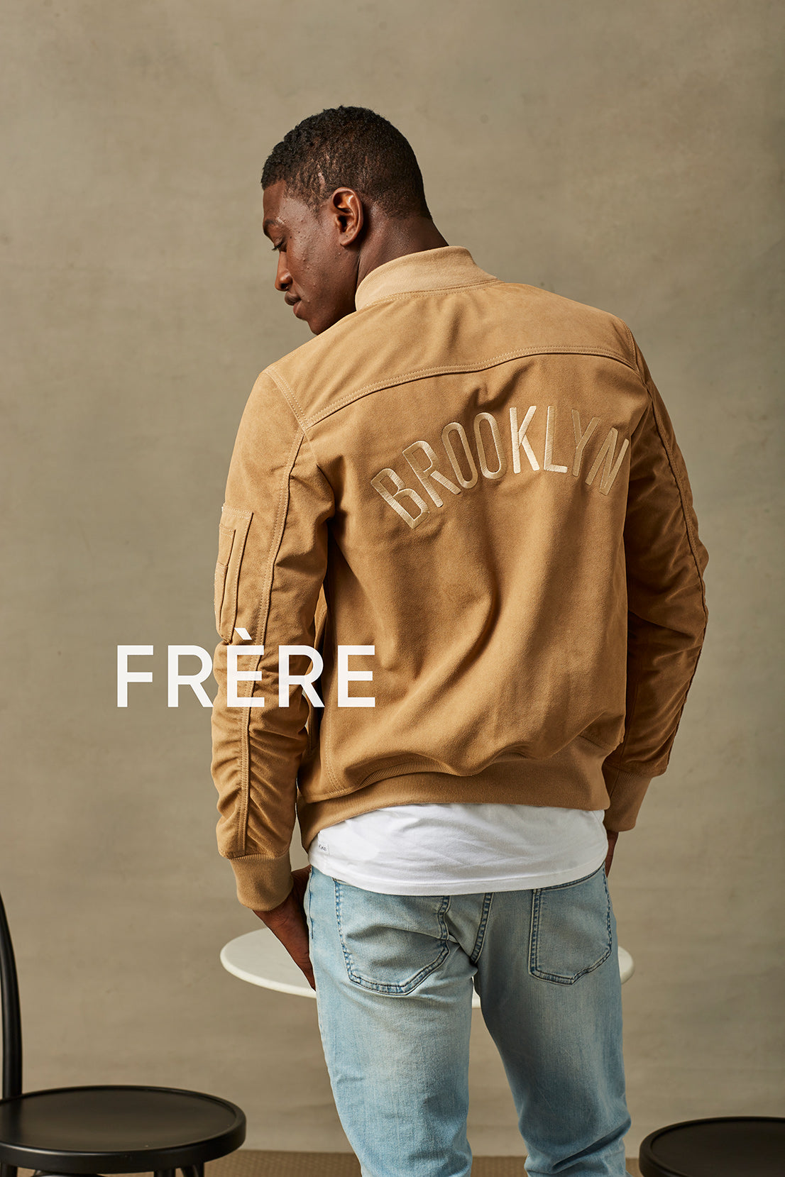 Beige Brooklyn MA1 Bomber Jacket