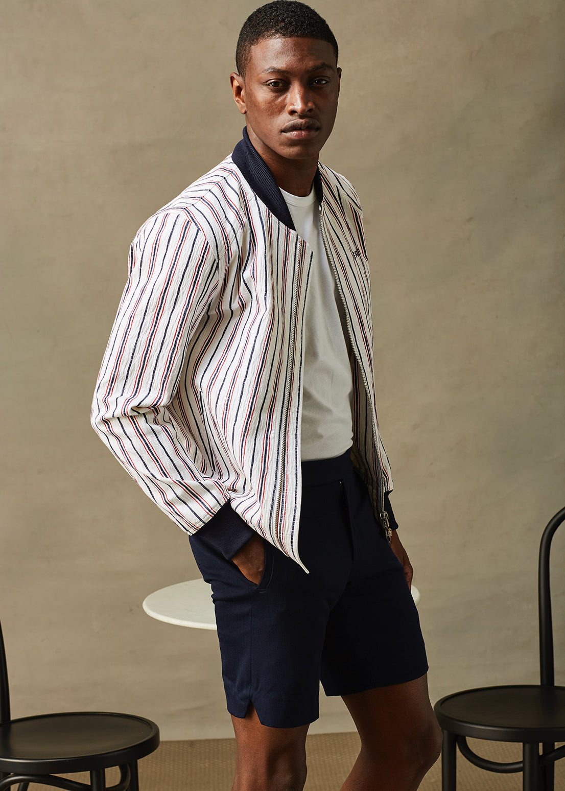 Multicolored Cream Pinstripe Bomber
