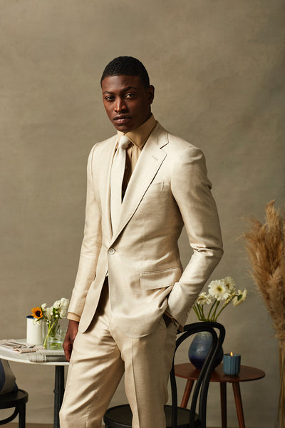 Cream Two Piece Notch Lapel Suit