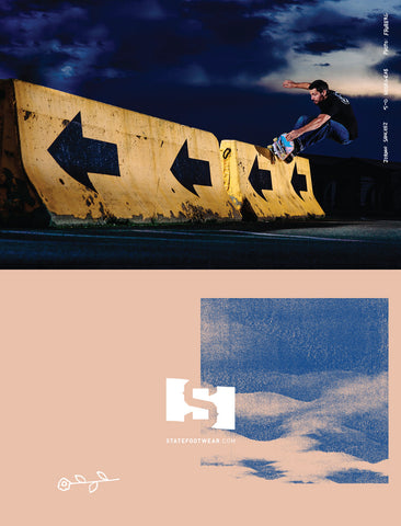 Jordan Sanchez 5-0 nose grab TWS Transworld Skateboarding ad May June 2017
