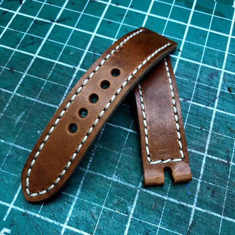 Wicket watch strap with tan stitching
