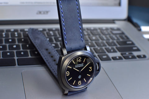 Crazy Navy Leather Watch Band