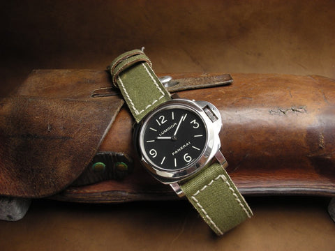 American Canvas handmade leather backed watch strap on Panerai Luminor