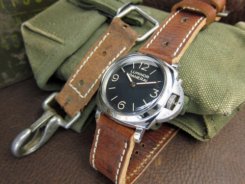 Bandolier medium vintage military leather watch strap on Luminor Panerai 372