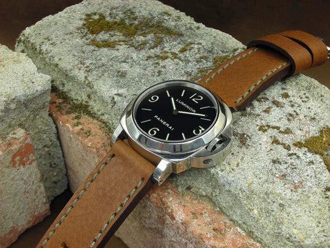 Brindle custom watch strap on Panerai Luminor