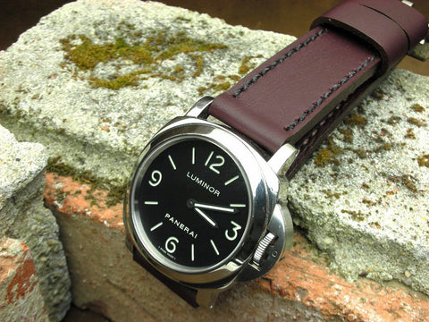 Bruise bespoke leather watch strap on Panerai 112 Luminor