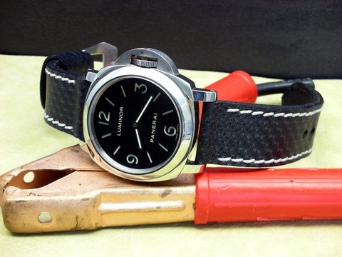 Carbon Black handmade leather watch strap with Luminor Panerai