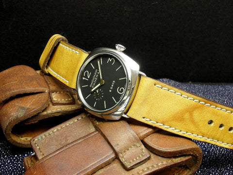 Crackle bright tan bespoke watch band on Panerai 190 Radiomir