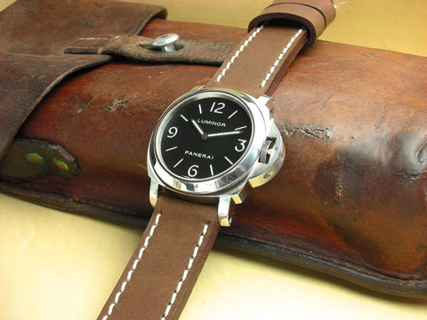 Fielder handmade leather watch strap on Luminor Panerai