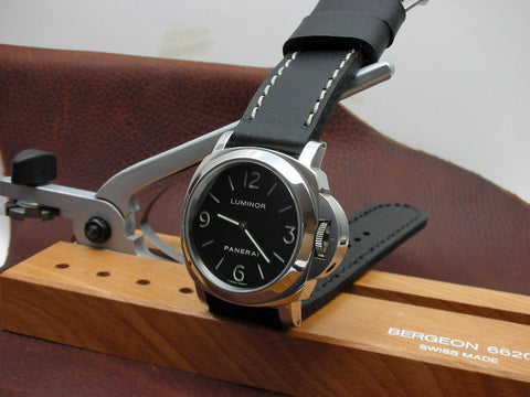 Flat Black custom watch strap on Luminor Panerai
