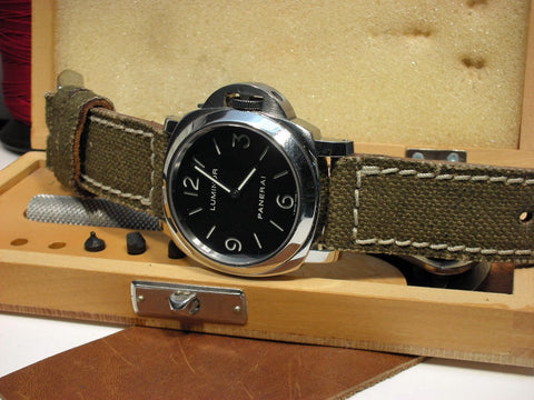 French Canvas handbuilt custom watch strap on Panerai Luminor