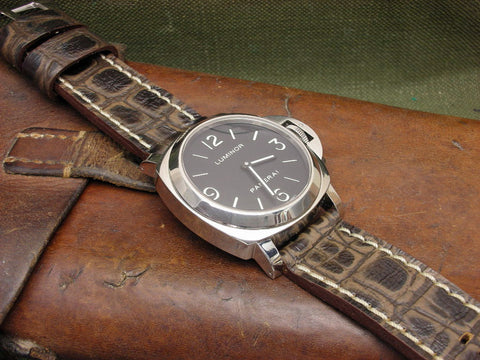 Gatornaut custom leather watch band on Panerai Luminor