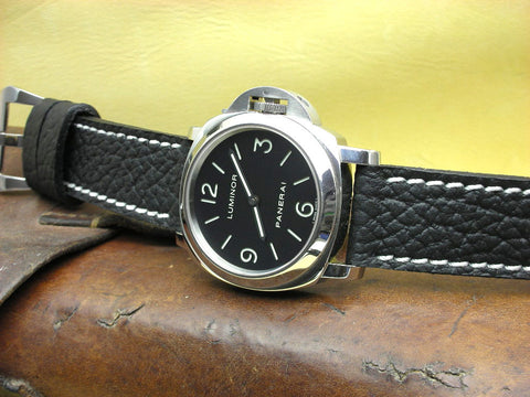 G Black custom leather watch band on Panerai 112 Luminor