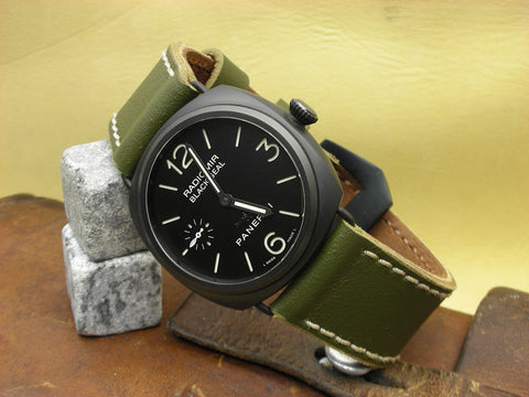 Green Painted Ammo handcrafted watch strap on Panerai 292 Radiomir