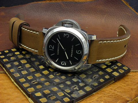 Militare handmade leather watch band on Panerai Luminor 112