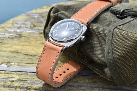 Naturo custom leather watch strap on PAM 249 California Dial watch