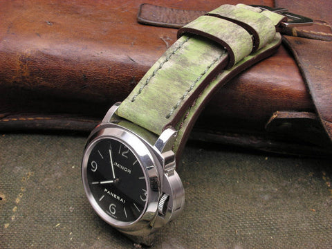Oddity handcrafted leather watch band on Panerai 112 Luminor