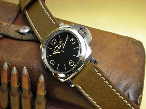 Ontario olive drab bespoke leather watch strap on PAM372 Luminor