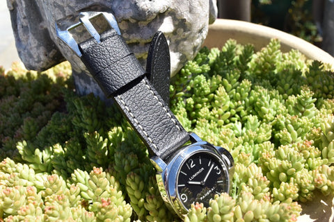Pebbled Black leather watch band on Panerai 112 base